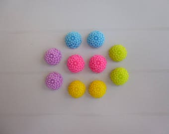 Set of 10 flower cabochons resin colors a paste of 10mm