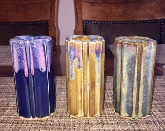 Small Cylinder Pottery Vases Set in Multiple Colors