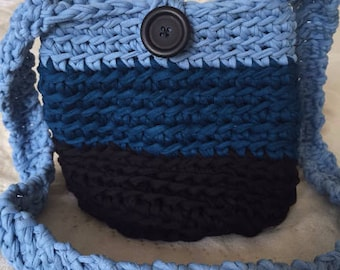 Crochet Crossbody Bag Women's Knitted Fabric Bag Tote Bag Long Handle Recycled Jersey Blue Bag Unique Gift For Her