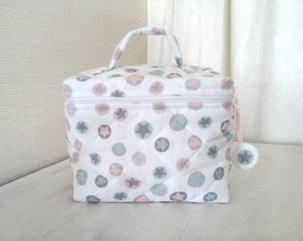 """Toiletry bag / vanity case quilted cotton """"stars"""" pink, blue, grey on white background"""