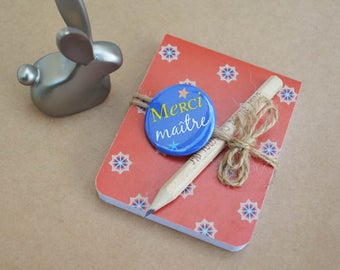 Master Notepad Vintage blue button and pencil