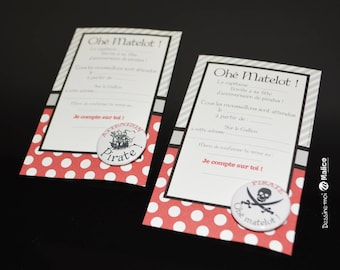 Set of 6 Pirate and his badges invitations