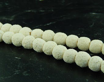 10 white 12mm lava beads