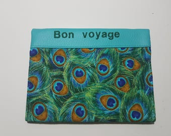 """Passport with 2 compartments cards turquoise leatherette embroidered """"Bon voyage"""" and fabric """"peacock feathers"""", neat work."""