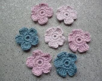 7 flowers crocheted wool handmade