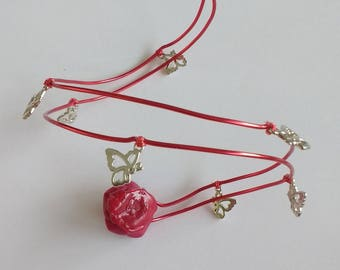 Swirl red anklet, roses and butterflies