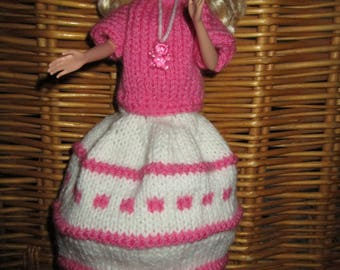 Doll model, ivory and pink dress