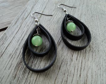 Stud Earrings in inner tube recycled and green glass bead