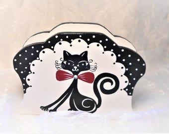 """Black and white towels """"Mistigri the cat cute"""" dispenser"""