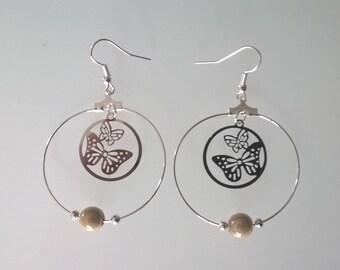 Beige butterfly earrings