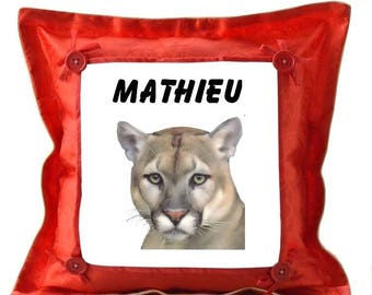 Red pillow personalized with name Cougar