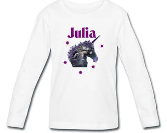 T-shirt long sleeved Unicorn girl personalized with name