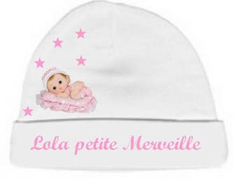 Personalized with name White little wonder baby bonnet