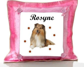 Cushion Pink Collie personalized with name