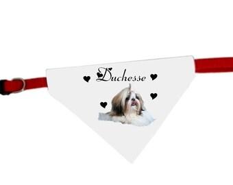 Necklace personalized with name Shih tzu dog bandana