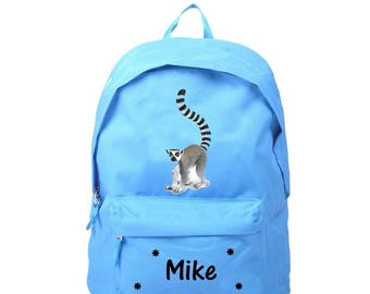 bag has blue lemur personalized with name