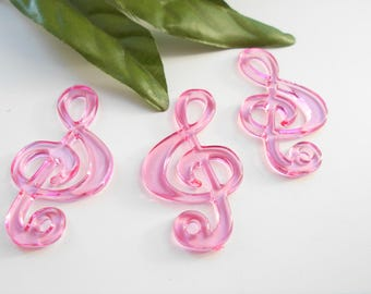 x 3 Pearl Pink acrylic music note