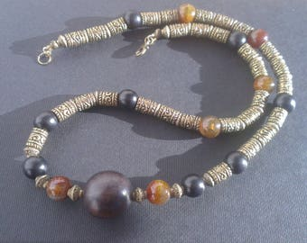 "Necklace ""Metal - stone"" in Black - Brown - bronze"