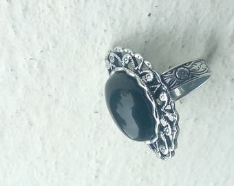 Silver ring - black Agate - romantic style