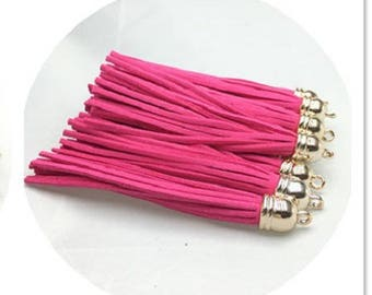85mm. 2 tassels suede fuchsia and gold caps 85mm