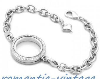 beautiful silver plated chain bracelet and Locket blank, finish heart charm