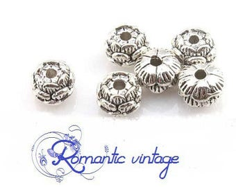 "5 beads ""pucks"" silver metal antique style 9 * 6mm lotus flowers"