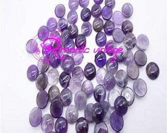 2 cabochon round Amethyst 18mm natural stones