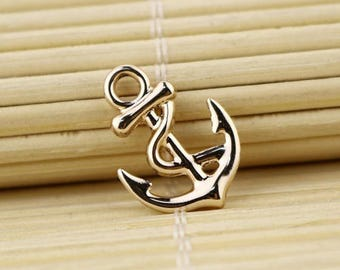 5 charms Navy color ink gold 17 * 11mm