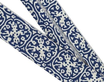 Organic cotton bias. Blue Arabesque pattern Navy · 50 cm