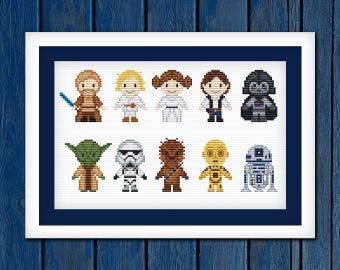 Star Wars sampler - cross stitch pattern PDF | Star wars cross stitch | Superheroes cross stitch | Movie cross stitch | Pixel Cross Stitch