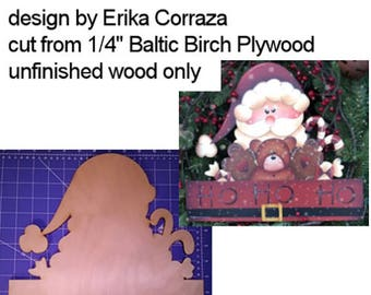 Ho Ho Ho wood cutout - design by Erika Corraza