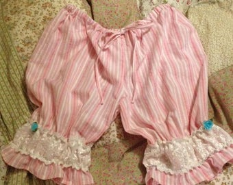 Pink candy stripe women's cotton bloomers