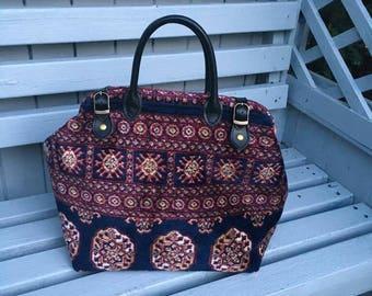 Handmade Hand Bag Size Red and Blue Bokhara Carpet Bag/Mary Poppins Bag