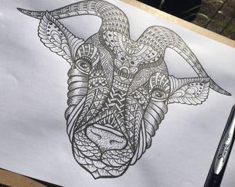 Original Mandala patterned animals; Capricorn/ram
