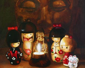"KOKESHI - Acrylic painting on canvas large format: ""Zen moment"""