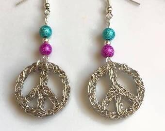 """Earrings """"peace & love"""" silver"""