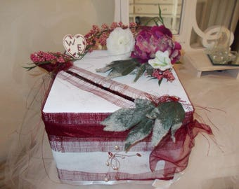 Burgundy floral and romantic wedding urn