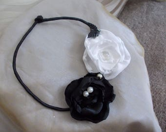 black and White Flower necklace baroque shabby chic satin