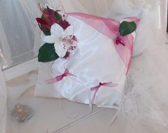 Burgundy and white ring bearer pillow