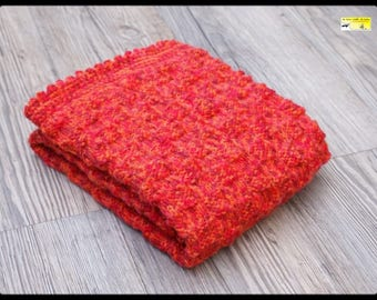 Red cover Orange Heather knit and crochet for pram