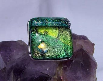 Silver plated Adjustable ring and its fusing cabochon / size: 2.5 cm x 2.5 cm