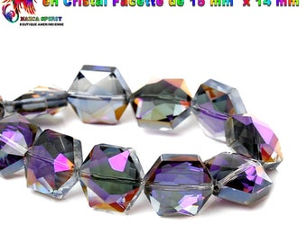4 large pearls Hexagonales 15 mm x 14 mm Czech faceted Crystal