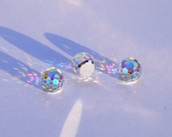 3 cabochon 8 mm faceted Fire Ball Aurora Borealis Swarovski Crystal