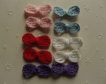 Multicolored bows with crochet cotton, set of 10