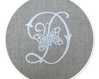 MONOGRAM LETTER - D - EMBROIDERY ON LINEN WHITE