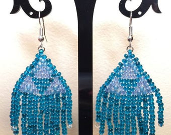 Pierced earrings - blue beadwork