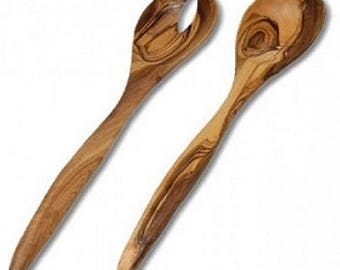 Salad servers made with olive wood