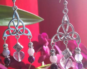 Celtic fluorite beads of agate and heart charm earrings