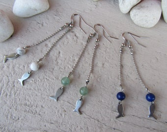 Long and thin dangling earrings with round gemstone, fish and charm ball chain silver metal color choice