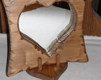 Romantic heart mirror wood cottage/mountain decor